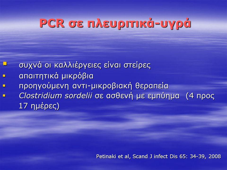 PCR σε πλευριτικά-υγρά PCR σε πλευριτικά-υγρά  συχνά οι καλλιέργειες είναι στείρες  απαιτητικά μικρόβια  προηγούμενη αντι-μικροβιακή θεραπεία  Clo