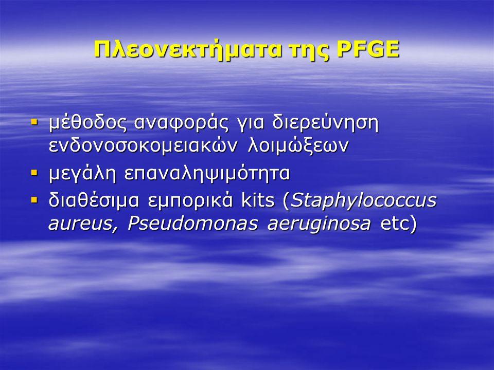 Πλεονεκτήματα της PFGE  μέθοδος αναφοράς για διερεύνηση ενδονοσοκομειακών λοιμώξεων  μεγάλη επαναληψιμότητα  διαθέσιμα εμπορικά kits (Staphylococcu