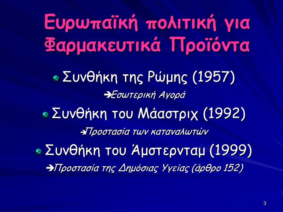 3 Ευρωπαϊκή πολιτική για Φαρμακευτικά Προϊόντα Συνθήκη της Ρώμης (1957) Συνθήκη της Ρώμης (1957)  Εσωτερική Αγορά Συνθήκη του Μάαστριχ (1992) Συνθήκη του Μάαστριχ (1992)  Προστασία των καταναλωτών Συνθήκη του Άμστερνταμ (1999) Συνθήκη του Άμστερνταμ (1999)  Προστασία της Δημόσιας Υγείας (άρθρο 152)