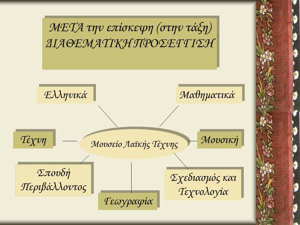 Μουσείο Λαϊκής Τέχνης Ελληνικά Σπουδή Περιβάλλοντος Σπουδή Περιβάλλοντος Τέχνη Σχεδιασμός και Τεχνολογία Σχεδιασμός και Τεχνολογία Μουσική Μαθηματικά