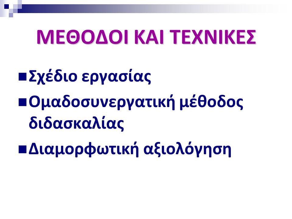 ΜΕΘΟΔΟΙ ΚΑΙ ΤΕΧΝΙΚΕΣ  Σχέδιο εργασίας  Ομαδοσυνεργατική μέθοδος διδασκαλίας  Διαμορφωτική αξιολόγηση