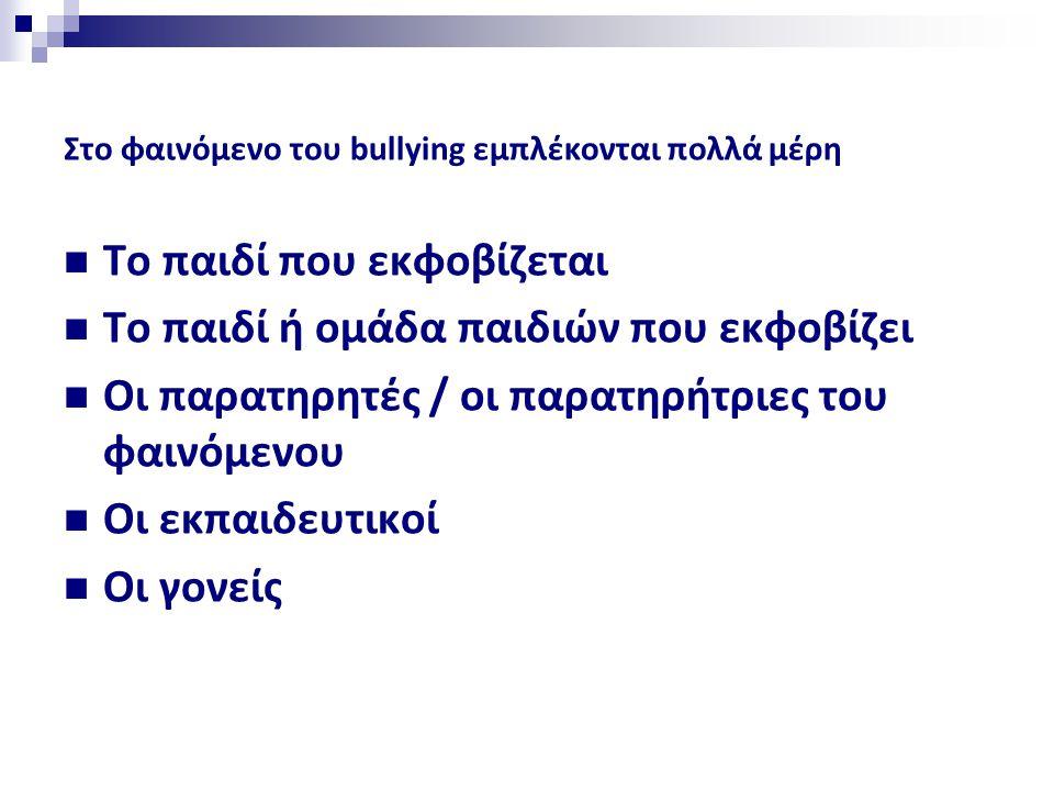 Στο φαινόμενο του bullying εμπλέκονται πολλά μέρη  Το παιδί που εκφοβίζεται  Το παιδί ή ομάδα παιδιών που εκφοβίζει  Οι παρατηρητές / οι παρατηρήτριες του φαινόμενου  Οι εκπαιδευτικοί  Οι γονείς