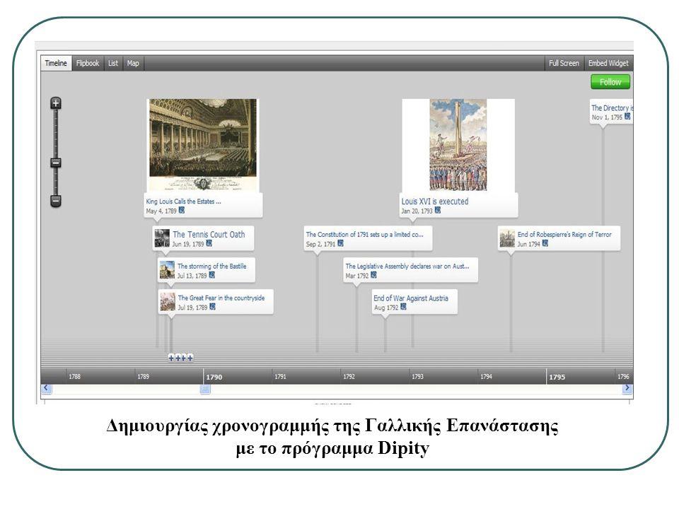Δημιουργίας χρονογραμμής της Γαλλικής Επανάστασης με το πρόγραμμα Dipity