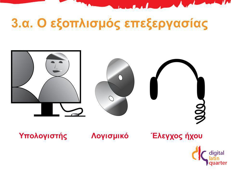 3.α. Ο εξοπλισμός επεξεργασίας ΥπολογιστήςΛογισμικόΈλεγχος ήχου