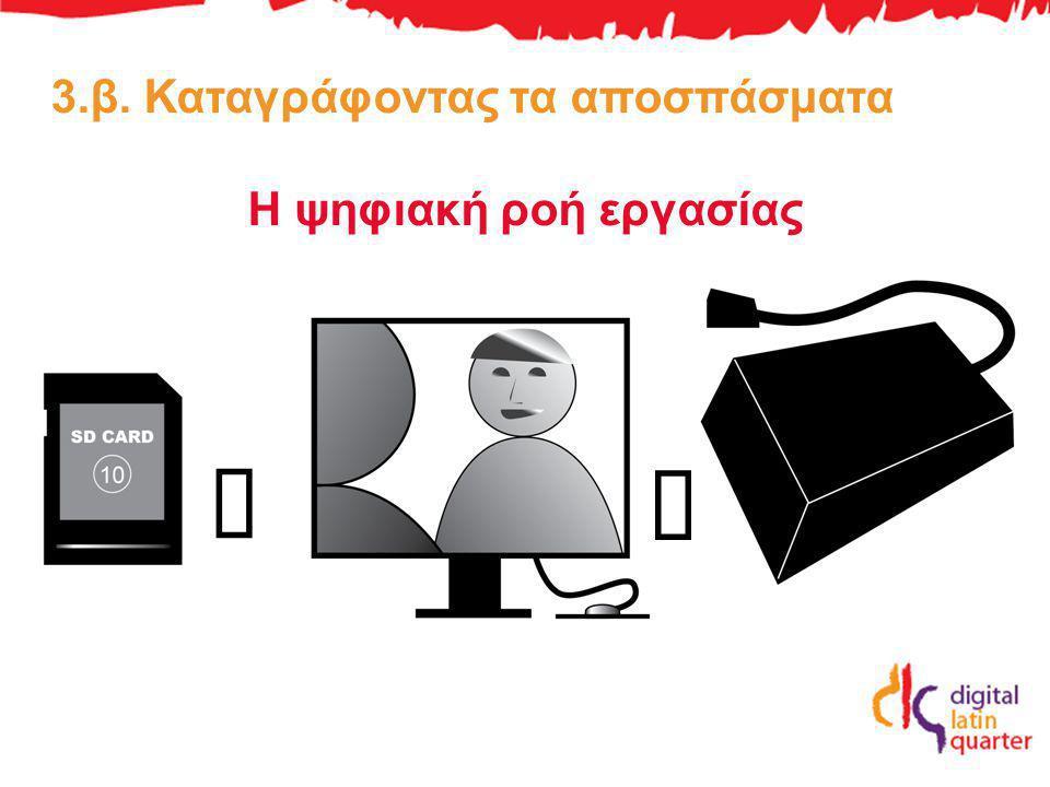 3.β. Καταγράφοντας τα αποσπάσματα Η ψηφιακή ροή εργασίας á á