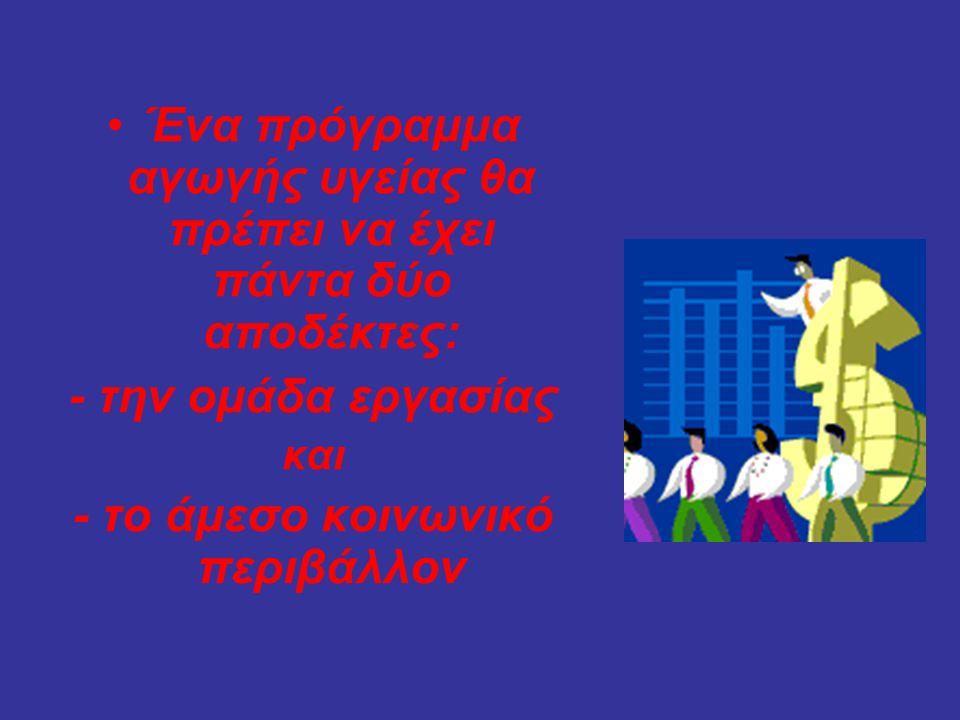 •Ένα πρόγραμμα αγωγής υγείας θα πρέπει να έχει πάντα δύο αποδέκτες: - την ομάδα εργασίας και - το άμεσο κοινωνικό περιβάλλον