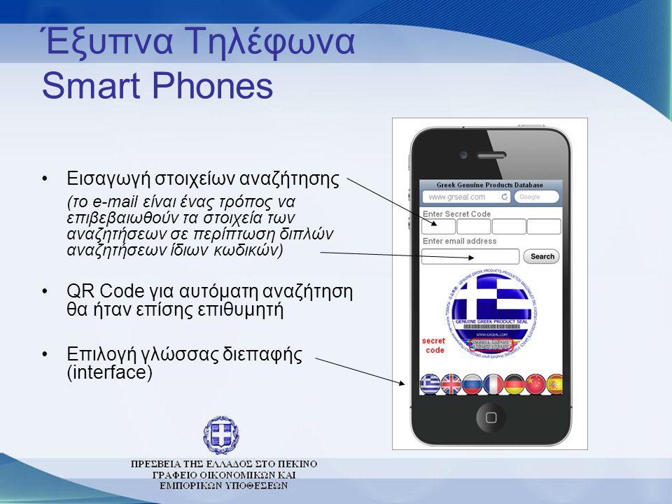 Έξυπνα Τηλέφωνα Smart Phones •Εισαγωγή στοιχείων αναζήτησης (το e-mail είναι ένας τρόπος να επιβεβαιωθούν τα στοιχεία των αναζητήσεων σε περίπτωση διπ