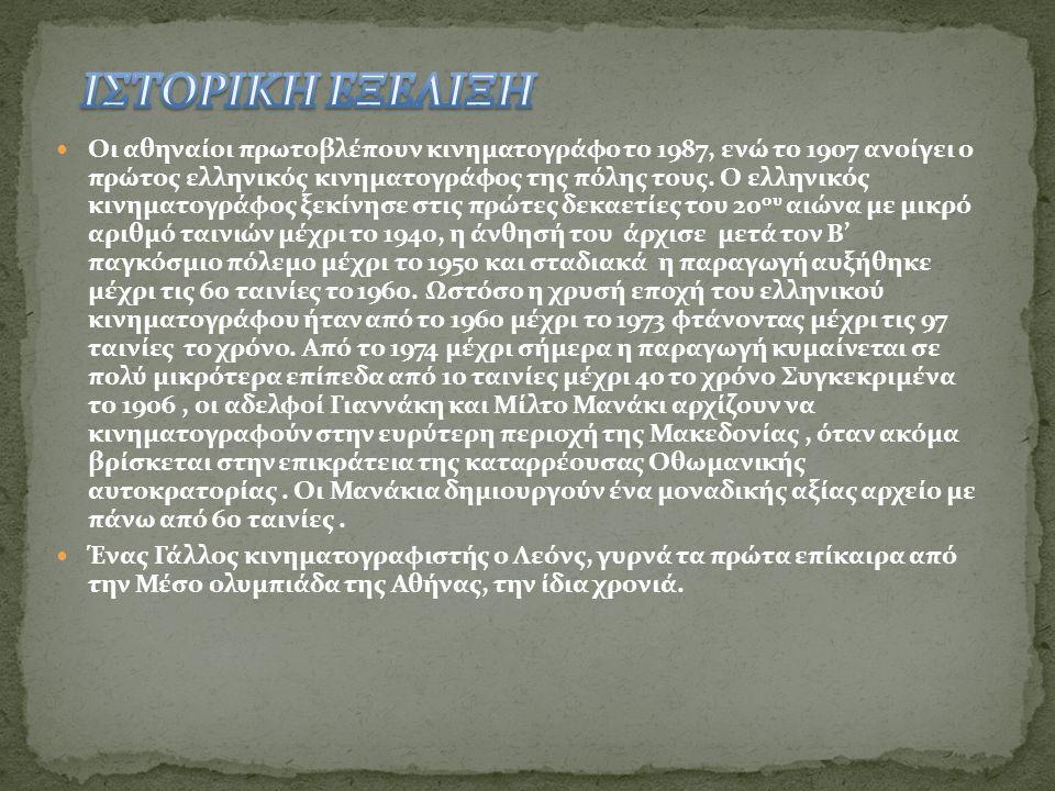  Οι αθηναίοι πρωτοβλέπουν κινηματογράφο το 1987, ενώ το 1907 ανοίγει ο πρώτος ελληνικός κινηματογράφος της πόλης τους.