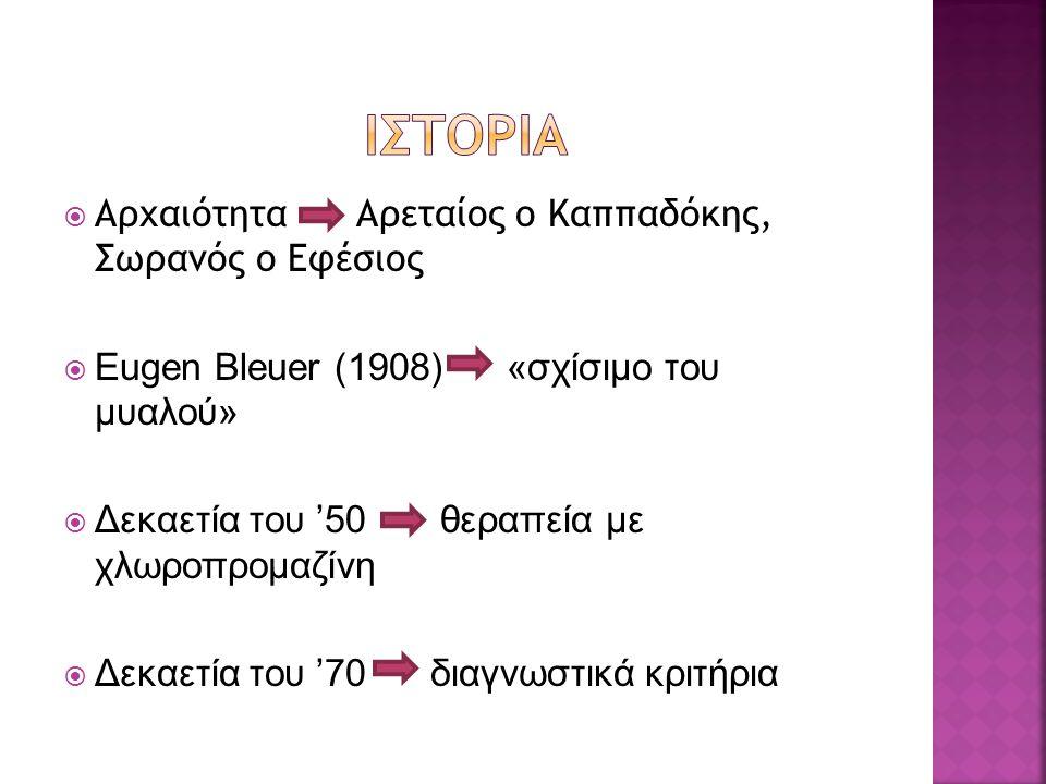  Αρχαιότητα Αρεταίος ο Καππαδόκης, Σωρανός ο Εφέσιος  Eugen Bleuer (1908) «σχίσιμο του μυαλού»  Δεκαετία του '50 θεραπεία με χλωροπρομαζίνη  Δεκαε