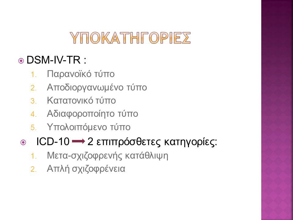  DSM-IV-TR : 1. Παρανοϊκό τύπο 2. Αποδιοργανωμένο τύπο 3. Κατατονικό τύπο 4. Αδιαφοροποίητο τύπο 5. Υπολοιπόμενο τύπο  ICD-10 2 επιπρόσθετες κατηγορ