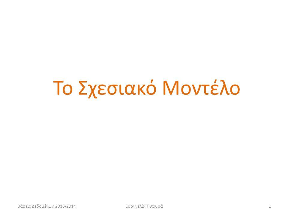Βάσεις Δεδομένων 2013-2014Ευαγγελία Πιτουρά1 Το Σχεσιακό Μοντέλο