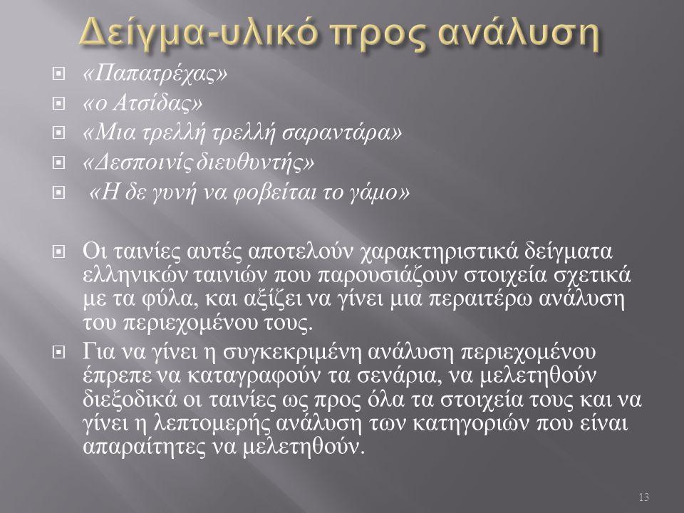 « Παπατρέχας »  « ο Ατσίδας »  « Μια τρελλή τρελλή σαραντάρα »  « Δεσποινίς διευθυντής »  « Η δε γυνή να φοβείται το γάμο »  Οι ταινίες αυτές αποτελούν χαρακτηριστικά δείγματα ελληνικών ταινιών που παρουσιάζουν στοιχεία σχετικά με τα φύλα, και αξίζει να γίνει μια περαιτέρω ανάλυση του περιεχομένου τους.