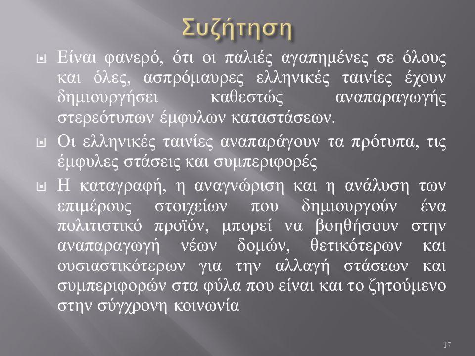 Είναι φανερό, ότι οι παλιές αγαπημένες σε όλους και όλες, ασπρόμαυρες ελληνικές ταινίες έχουν δημιουργήσει καθεστώς αναπαραγωγής στερεότυπων έμφυλων καταστάσεων.