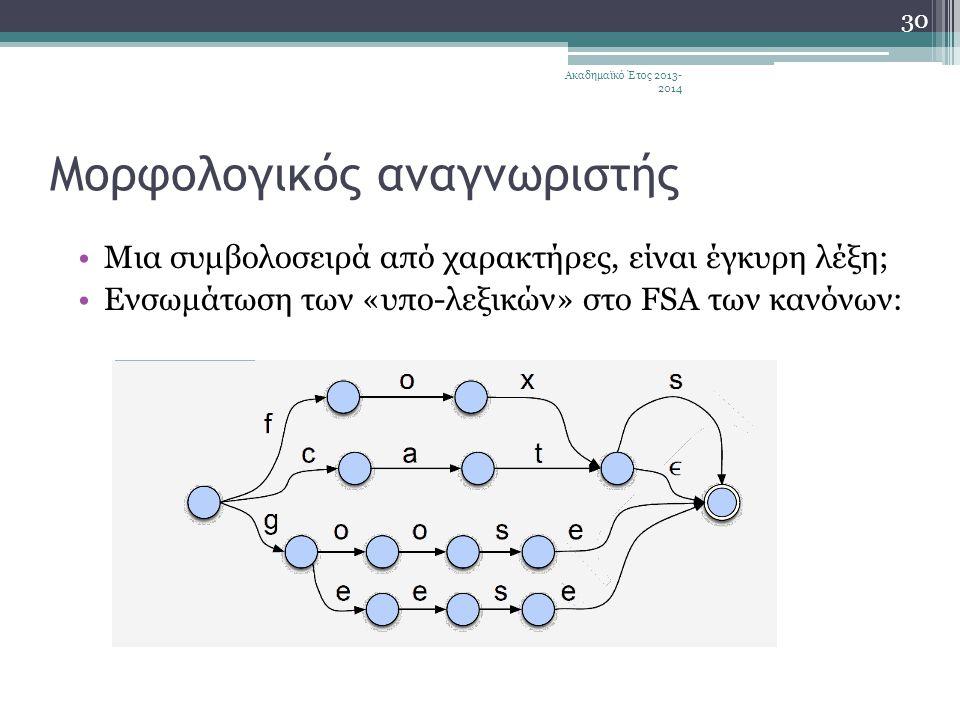 Μορφολογικός αναγνωριστής •Μια συμβολοσειρά από χαρακτήρες, είναι έγκυρη λέξη; •Ενσωμάτωση των «υπο-λεξικών» στο FSA των κανόνων: Ακαδημαϊκό Έτος 2013- 2014 30
