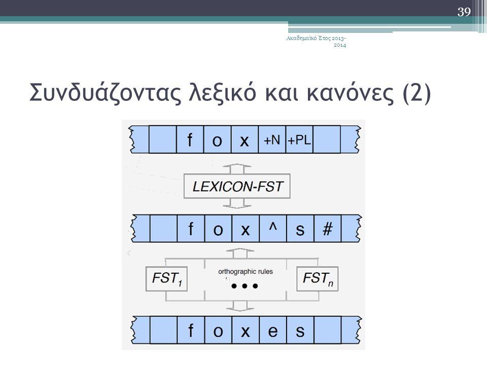 Συνδυάζοντας λεξικό και κανόνες (2) Ακαδημαϊκό Έτος 2013- 2014 39