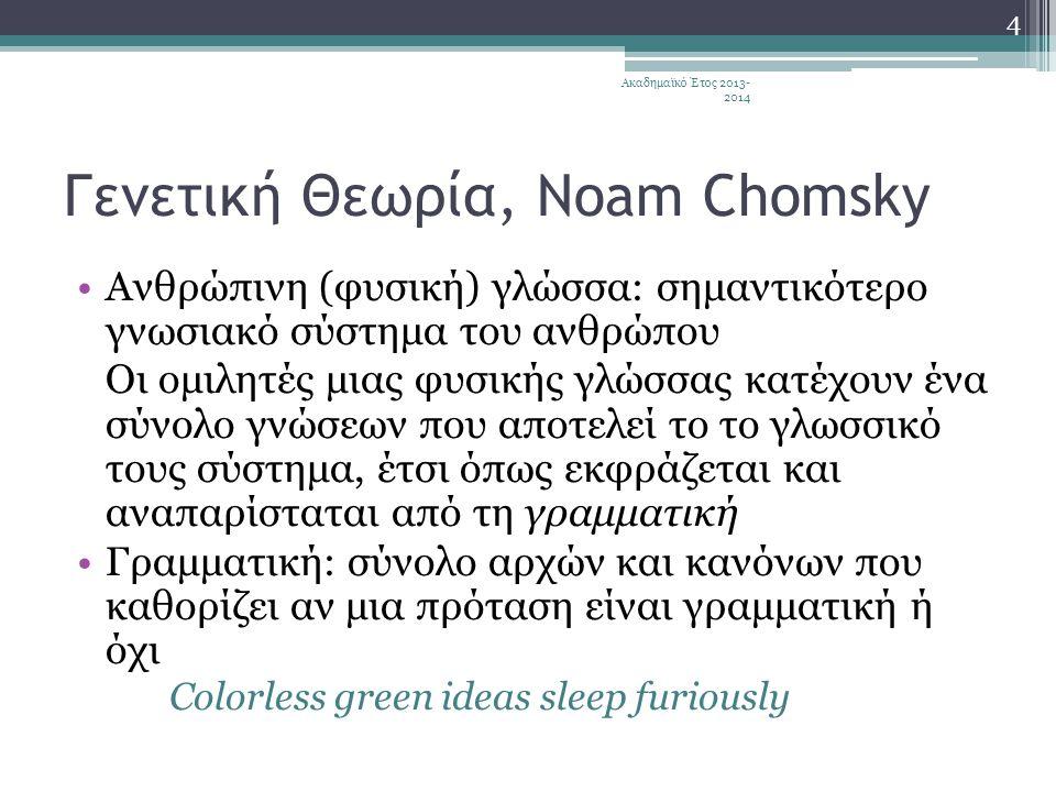 Γενετική Θεωρία, Noam Chomsky •Ανθρώπινη (φυσική) γλώσσα: σημαντικότερο γνωσιακό σύστημα του ανθρώπου Οι ομιλητές μιας φυσικής γλώσσας κατέχουν ένα σύνολο γνώσεων που αποτελεί το το γλωσσικό τους σύστημα, έτσι όπως εκφράζεται και αναπαρίσταται από τη γραμματική •Γραμματική: σύνολο αρχών και κανόνων που καθορίζει αν μια πρόταση είναι γραμματική ή όχι Colorless green ideas sleep furiously 4 Ακαδημαϊκό Έτος 2013- 2014