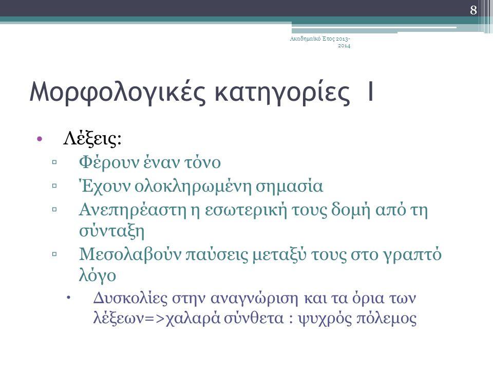 Μορφολογικές κατηγορίες Ι •Λέξεις: ▫Φέρουν έναν τόνο ▫Έχουν ολοκληρωμένη σημασία ▫Ανεπηρέαστη η εσωτερική τους δομή από τη σύνταξη ▫Μεσολαβούν παύσεις μεταξύ τους στο γραπτό λόγο  Δυσκολίες στην αναγνώριση και τα όρια των λέξεων=>χαλαρά σύνθετα : ψυχρός πόλεμος 8 Ακαδημαϊκό Έτος 2013- 2014