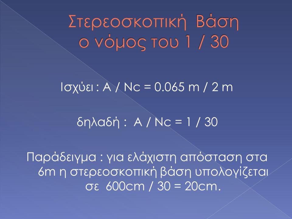 Ισχύει : Α / Νc = 0.065 m / 2 m δηλαδή : Α / Νc = 1 / 30 Παράδειγμα : για ελάχιστη απόσταση στα 6m η στερεοσκοπική βάση υπολογίζεται σε 600cm / 30 = 20cm.