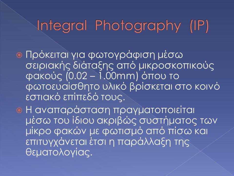  Πρόκειται για φωτογράφιση μέσω σειριακής διάταξης από μικροσκοπικούς φακούς (0.02 – 1.00mm) όπου το φωτοευαίσθητο υλικό βρίσκεται στο κοινό εστιακό επίπεδό τους.