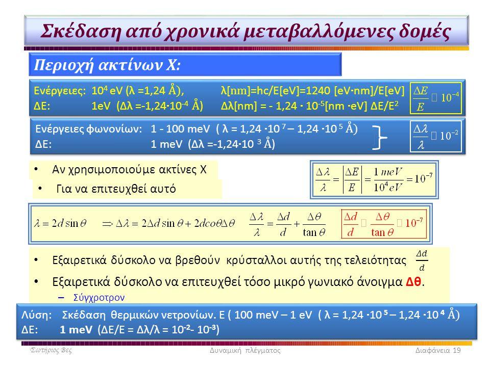 Σκέδαση από χρονικά μεταβαλλόμενες δομές • Αν χρησιμοποιούμε ακτίνες Χ Σωτήριος ΒεςΔυναμική πλέγματος Διαφάνεια 19 Περιοχή ακτίνων X: • Για να επιτευχ