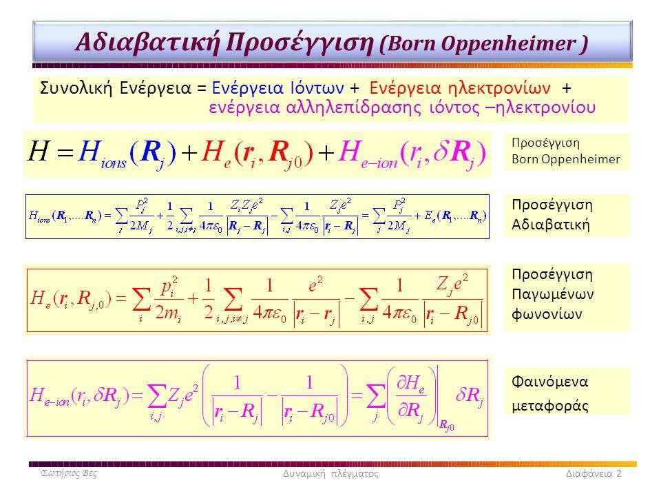 Αδιαβατική Προσέγγιση (Born Oppenheimer ) Συνολική Ενέργεια = Ενέργεια Ιόντων + Ενέργεια ηλεκτρονίων + ενέργεια αλληλεπίδρασης ιόντος –ηλεκτρονίου Σωτ