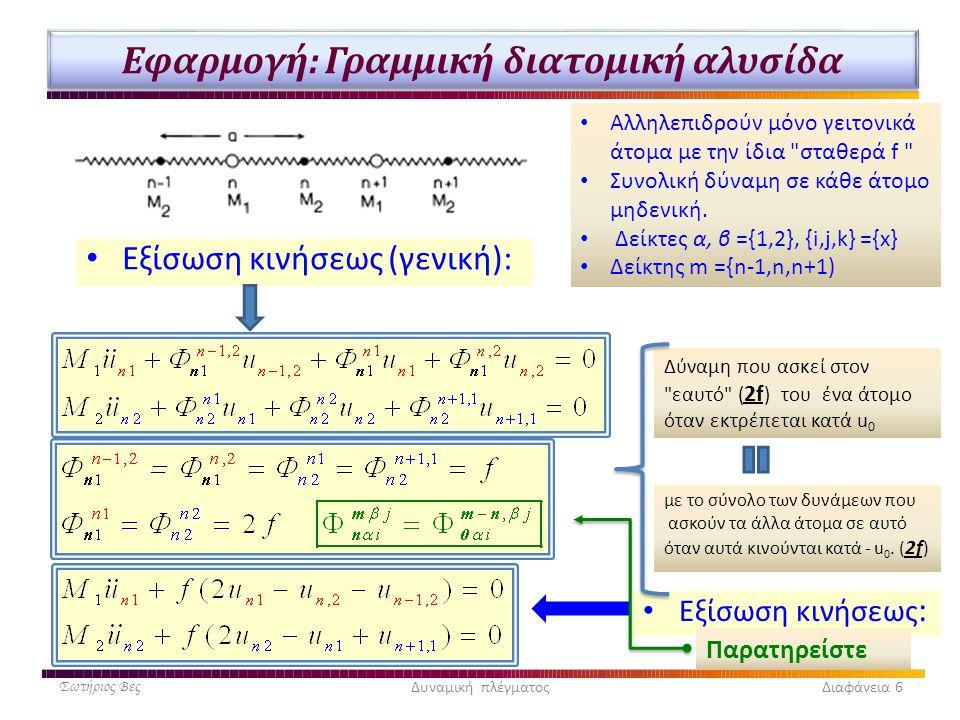 Εφαρμογή: Γραμμική διατομική αλυσίδα • Εξίσωση κινήσεως (γενική): Σωτήριος ΒεςΔυναμική πλέγματος Διαφάνεια 6 • Αλληλεπιδρούν μόνο γειτονικά άτομα με τ