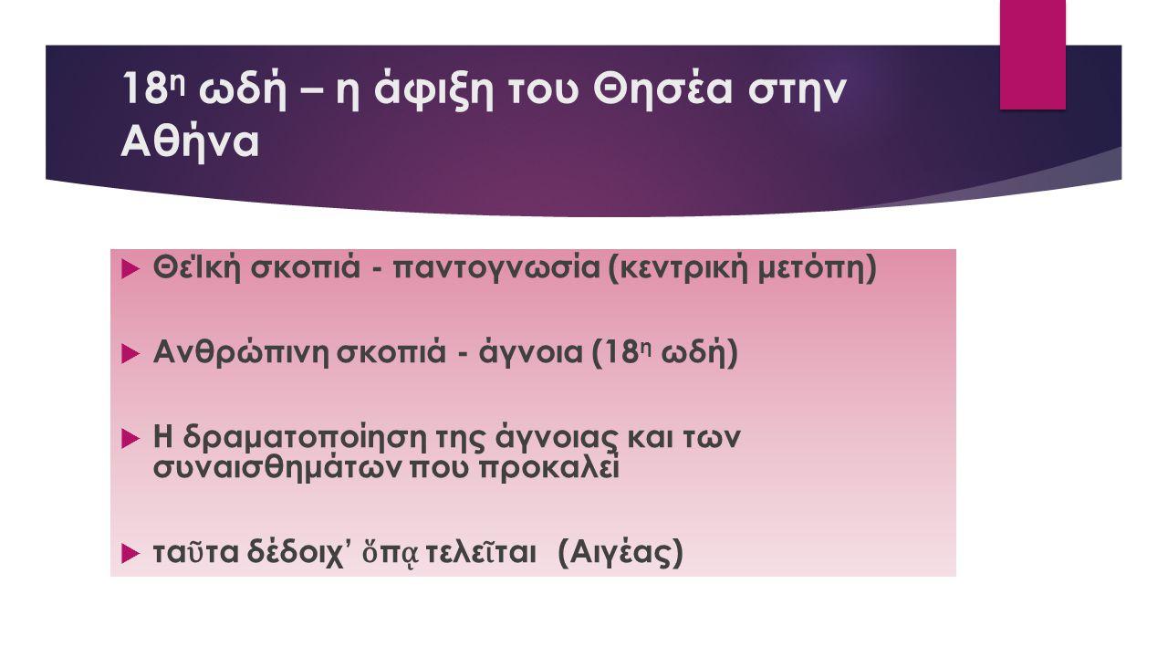 18 η ωδή – η άφιξη του Θησέα στην Αθήνα  ΘεΊκή σκοπιά - παντογνωσία (κεντρική μετόπη)  Ανθρώπινη σκοπιά - άγνοια (18 η ωδή)  Η δραματοποίηση της άγ