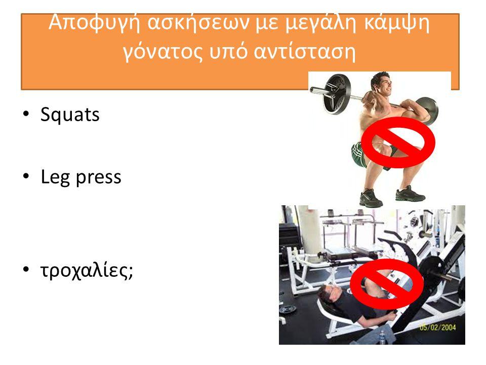 Αποφυγή ασκήσεων με μεγάλη κάμψη γόνατος υπό αντίσταση • Squats • Leg press • τροχαλίες;