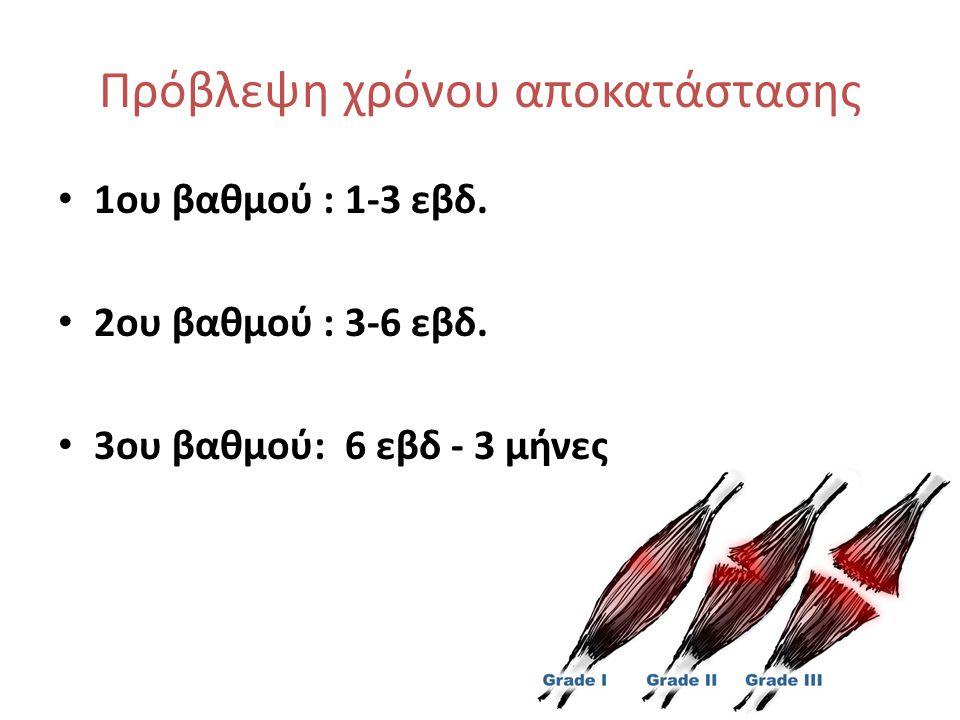 Πρόβλεψη χρόνου αποκατάστασης • 1ου βαθμού : 1-3 εβδ. • 2ου βαθμού : 3-6 εβδ. • 3ου βαθμού: 6 εβδ - 3 μήνες