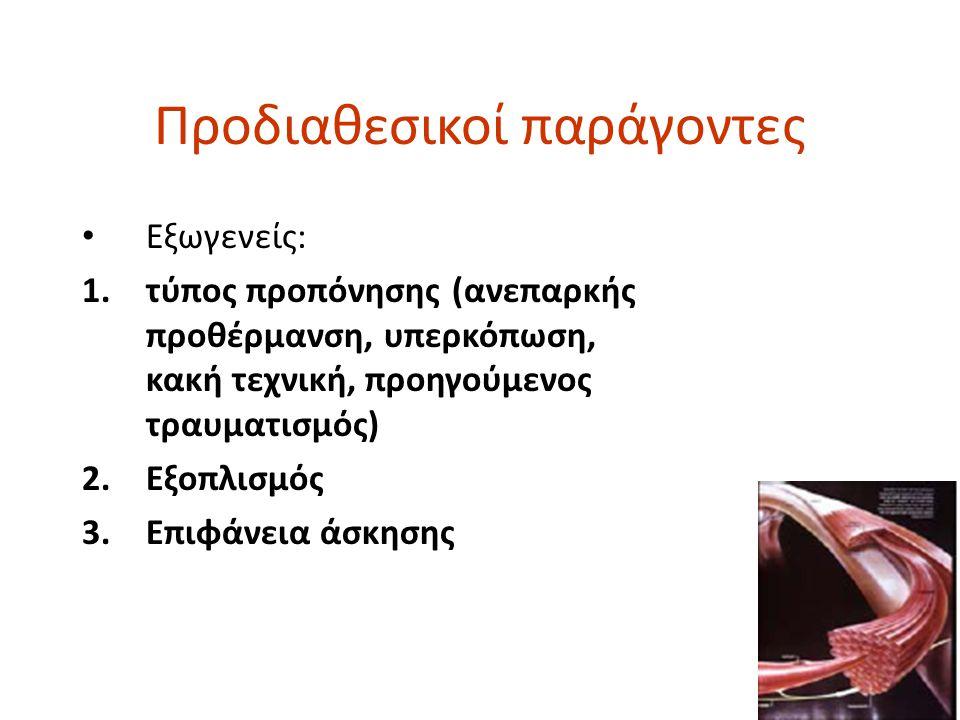 Προδιαθεσικοί παράγοντες • Εξωγενείς: 1.τύπος προπόνησης (ανεπαρκής προθέρμανση, υπερκόπωση, κακή τεχνική, προηγούμενος τραυματισμός) 2.Εξοπλισμός 3.Ε