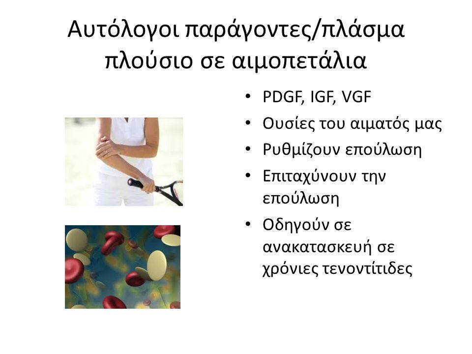 Αυτόλογοι παράγοντες/πλάσμα πλούσιο σε αιμοπετάλια • PDGF, IGF, VGF • Ουσίες του αιματός μας • Ρυθμίζουν επούλωση • Επιταχύνουν την επούλωση • Οδηγούν