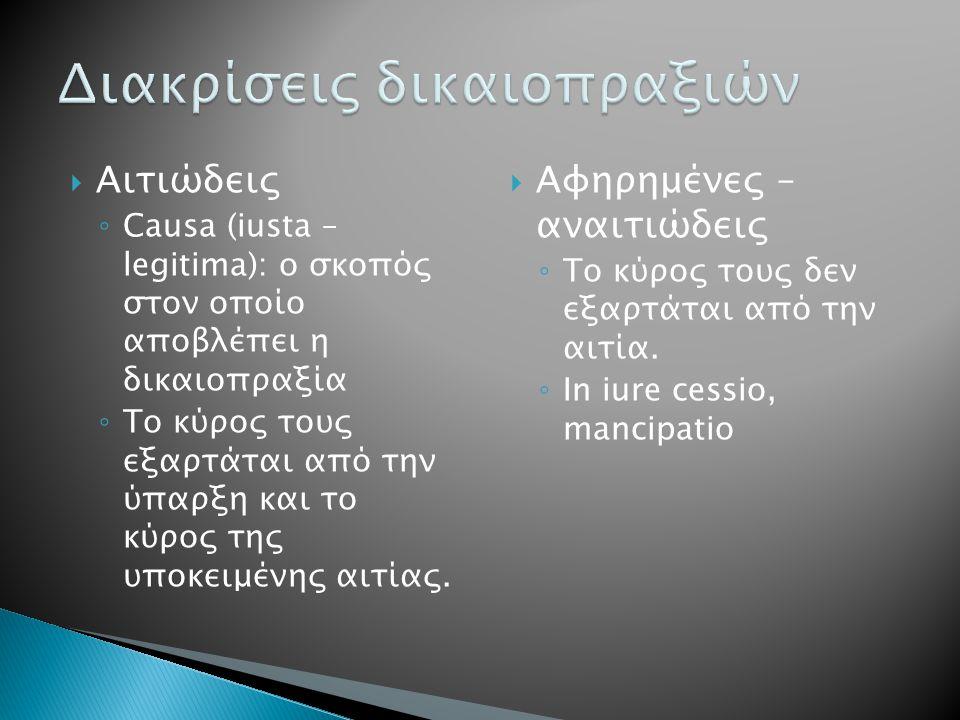  Αιτιώδεις ◦ Causa (iusta – legitima): o σκοπός στον οποίο αποβλέπει η δικαιοπραξία ◦ Το κύρος τους εξαρτάται από την ύπαρξη και το κύρος της υποκειμ