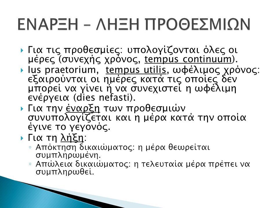  Για τις προθεσμίες: υπολογίζονται όλες οι μέρες (συνεχής χρόνος, tempus continuum).  Ius praetorium, tempus utilis, ωφέλιμος χρόνος: εξαιρούνται οι
