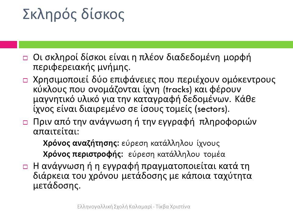 Σκληρός δίσκος Ελληνογαλλική Σχολή Καλαμαρί - Τίκβα Χριστίνα  Οι σκληροί δίσκοι είναι η πλέον διαδεδομένη μορφή περιφερειακής μνήμης.