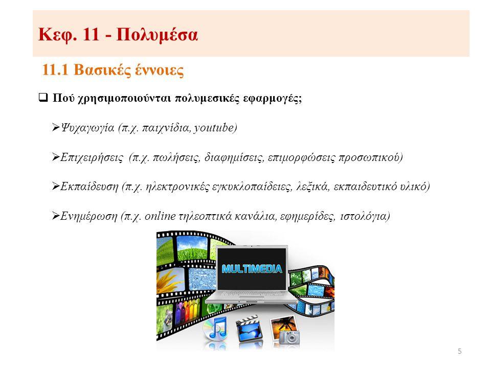 Κεφ. 11 - Πολυμέσα 11.1 Βασικές έννοιες 5  Πού χρησιμοποιούνται πολυμεσικές εφαρμογές;  Ψυχαγωγία (π.χ. παιχνίδια, youtube)  Επιχειρήσεις (π.χ. πωλ