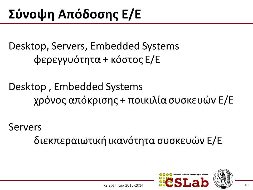 cslab@ntua 2013-2014 Σύνοψη Απόδοσης Ε/Ε Desktop, Servers, Embedded Systems φερεγγυότητα + κόστος Ε/Ε Desktop, Embedded Systems χρόνος απόκρισης + ποικιλία συσκευών Ε/Ε Servers διεκπεραιωτική ικανότητα συσκευών Ε/Ε 10