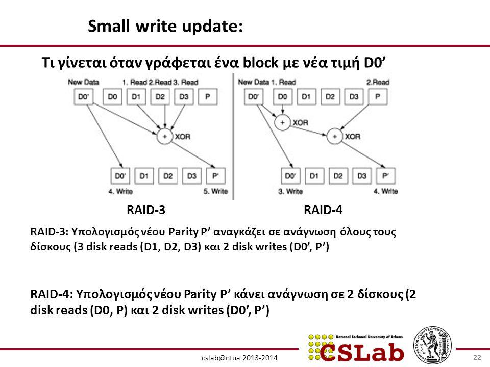 cslab@ntua 2013-2014 RAID-3RAID-4 Small write update: RAID-3: Υπολογισμός νέου Parity P' αναγκάζει σε ανάγνωση όλους τους δίσκους (3 disk reads (D1, D2, D3) και 2 disk writes (D0', P') RAID-4: Υπολογισμός νέου Parity P' κάνει ανάγνωση σε 2 δίσκους (2 disk reads (D0, P) και 2 disk writes (D0', P') Τι γίνεται όταν γράφεται ένα block με νέα τιμή D0' 22
