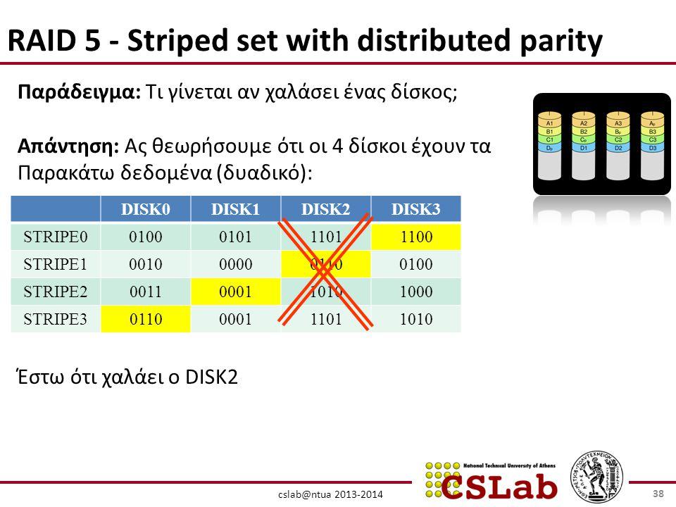 cslab@ntua 2013-2014 RAID 5 - Striped set with distributed parity Παράδειγμα: Τι γίνεται αν χαλάσει ένας δίσκος; Απάντηση: Ας θεωρήσουμε ότι οι 4 δίσκοι έχουν τα Παρακάτω δεδομένα (δυαδικό): Έστω ότι χαλάει ο DISK2 DISK0DISK1DISK2DISK3 STRIPE00100010111011100 STRIPE10010000001100100 STRIPE20011000110101000 STRIPE30110000111011010 38