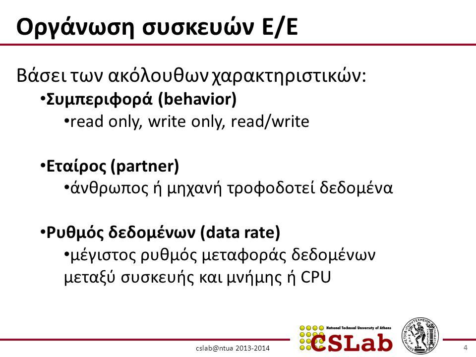 cslab@ntua 2013-2014 Οργάνωση συσκευών Ε/Ε Βάσει των ακόλουθων χαρακτηριστικών: • Συμπεριφορά (behavior) • read only, write only, read/write • Εταίρος (partner) • άνθρωπος ή μηχανή τροφοδοτεί δεδομένα • Ρυθμός δεδομένων (data rate) • μέγιστος ρυθμός μεταφοράς δεδομένων μεταξύ συσκευής και μνήμης ή CPU 4