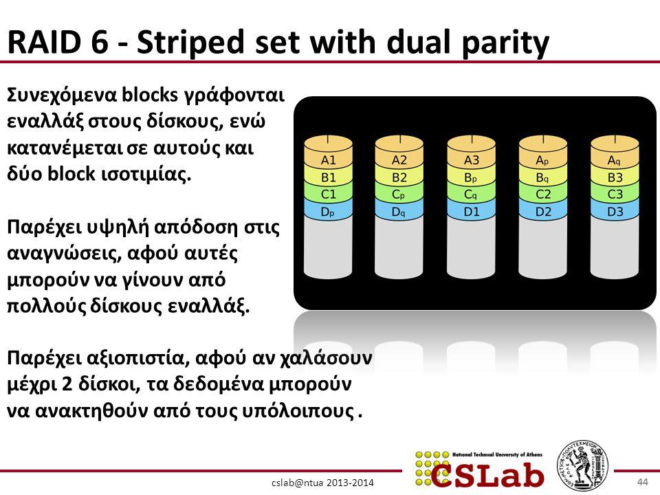 cslab@ntua 2013-2014 RAID 6 - Striped set with dual parity Συνεχόμενα blocks γράφονται εναλλάξ στους δίσκους, ενώ κατανέμεται σε αυτούς και δύο block ισοτιμίας.