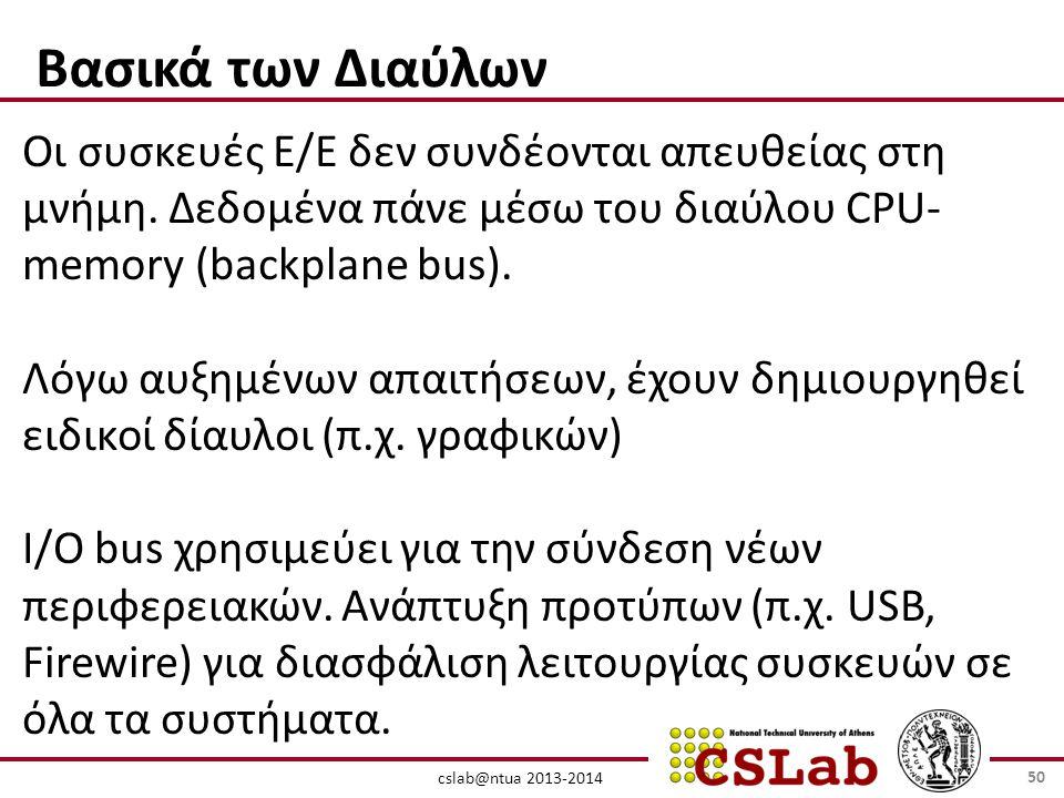 cslab@ntua 2013-2014 Βασικά των Διαύλων Οι συσκευές Ε/Ε δεν συνδέονται απευθείας στη μνήμη.