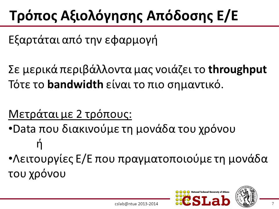 cslab@ntua 2013-2014 Τρόπος Αξιολόγησης Απόδοσης Ε/Ε Εξαρτάται από την εφαρμογή Σε μερικά περιβάλλοντα μας νοιάζει το throughput Τότε το bandwidth είναι το πιο σημαντικό.