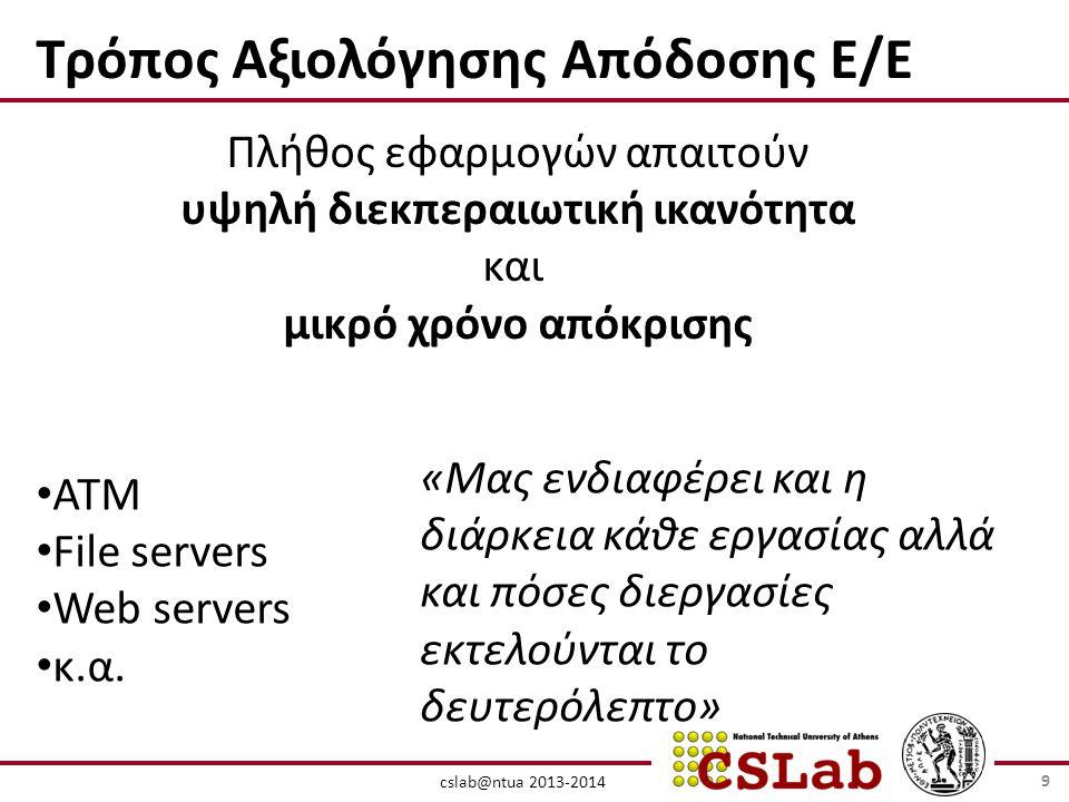 cslab@ntua 2013-2014 Τρόπος Αξιολόγησης Απόδοσης Ε/Ε Πλήθος εφαρμογών απαιτούν υψηλή διεκπεραιωτική ικανότητα και μικρό χρόνο απόκρισης • ΑΤΜ • File servers • Web servers • κ.α.