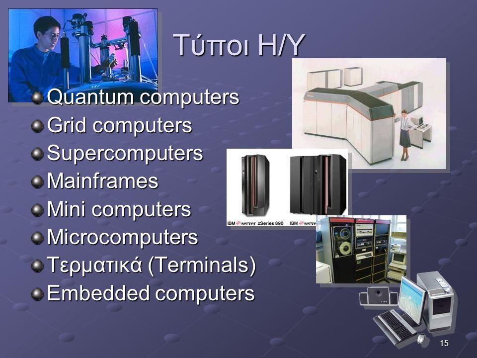 15 Τύποι Η/Υ Quantum computers Grid computers SupercomputersMainframes Mini computers Microcomputers Τερματικά (Terminals) Embedded computers