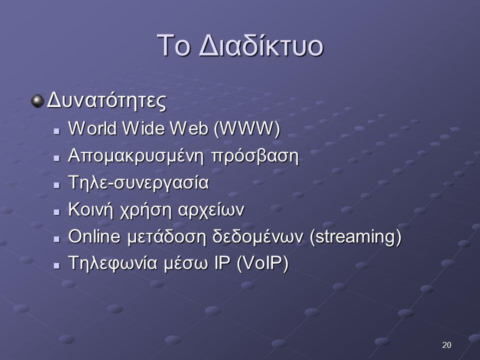 20 Το Διαδίκτυο Δυνατότητες  World Wide Web (WWW)  Απομακρυσμένη πρόσβαση  Τηλε-συνεργασία  Κοινή χρήση αρχείων  Online μετάδοση δεδομένων (strea