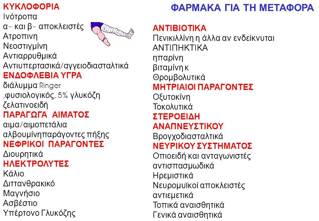ΚΥΚΛΟΦΟΡΙΑ Ινότροπα α - και β - αποκλειστές Ατροπινη Νεοστιγμίνη Αντιαρρυθμικά Αντιυπερτασικά / αγγειοδιασταλτικά ΕΝΔΟΦΛΕΒΙΑ ΥΓΡΑ διάλυμμα Ringer, φυσιολογικός, 5% γλυκόζη ζελατινοειδή ΠΑΡΑΓΩΓΑ ΑΙΜΑΤΟΣ αιμα / αιμοπετάλια αλβουμίνηπαράγοντες πήξης ΝΕΦΡΙΚΟΙ ΠΑΡΑΓΟΝΤΕΣ Διουρητικά ΗΛΕΚΤΡΟΛΥΤΕΣ Κάλιο Διττανθρακικό Μαγνήσιο Ασβέστιο Υπέρτονο Γλυκόζης ΦΑΡΜΑΚΑ ΓΙΑ ΤΗ ΜΕΤΑΦΟΡΑ ΑΝΤΙΒΙΟΤΙΚΑ Πενικιλλίνη η άλλα αν ενδείκνυται ΑΝΤΙΠΗΚΤΙΚΑ ηπαρίνη βιταμίνη κ Θρομβολυτικά ΜΗΤΡΙΑΙΟΙ ΠΑΡΑΓΟΝΤΕΣ Οξυτοκίνη Τοκολυτικά ΣΤΕΡΟΕΙΔΗ ΑΝΑΠΝΕΥΣΤΙΚΟΥ Βρογχοδιασταλτικά ΝΕΥΡΙΚΟΥ ΣΥΣΤΗΜΑΤΟΣ Οπιοειδή και ανταγωνιστές αντισπασμωδικά Ηρεμιστικά Νευρομυϊκοί αποκλειστές αντιεμετικά Τοπικά αναισθητικά Γενικά αναισθητικά