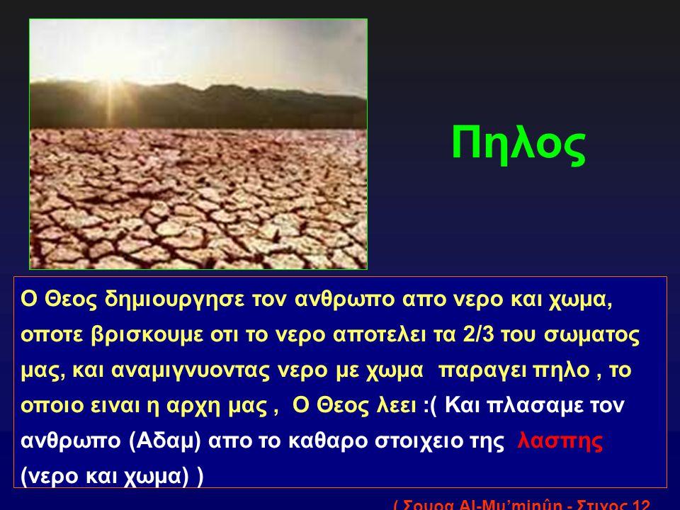 Ο Θεος δημιουργησε τον ανθρωπο απο νερο και χωμα, οποτε βρισκουμε οτι το νερο αποτελει τα 2/3 του σωματος μας, και αναμιγνυοντας νερο με χωμα παραγει πηλο, το οποιο ειναι η αρχη μας, Ο Θεος λεει :( Και πλασαμε τον ανθρωπο (Aδαμ) απο το καθαρο στοιχειο της λασπης (νερο και χωμα) ) ( Σουρα Al-Mu'minûn - Στιχος 12 ) Πηλος