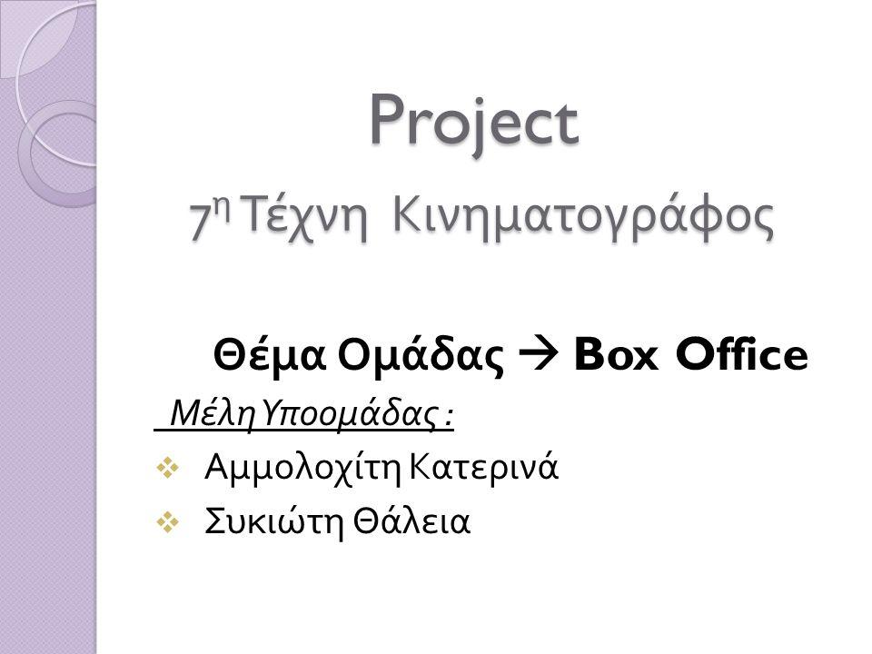 Project 7 η Τέχνη Κινηματογράφος Project 7 η Τέχνη Κινηματογράφος Θέμα Ομάδας  Box Office Μέλη Υποομάδας :  Αμμολοχίτη Κατερινά  Συκιώτη Θάλεια