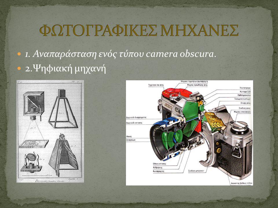  1. Αναπαράσταση ενός τύπου camera obscura.  2.Ψηφιακή μηχανή