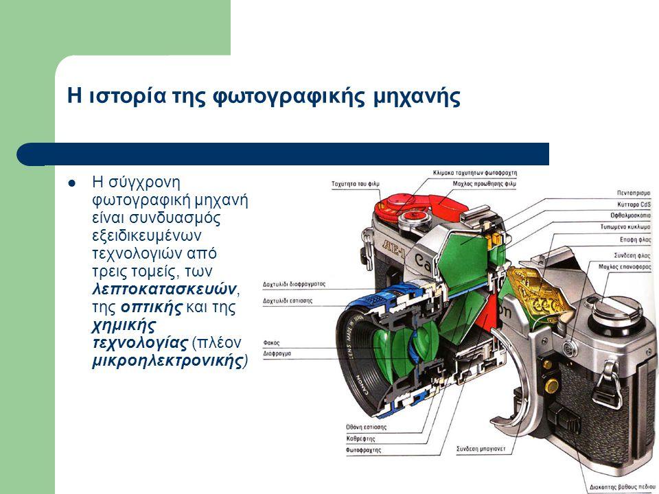  Η σύγχρονη φωτογραφική μηχανή είναι συνδυασμός εξειδικευμένων τεχνολογιών από τρεις τομείς, των λεπτοκατασκευών, της οπτικής και της χημικής τεχνολογίας (πλέον μικροηλεκτρονικής) Η ιστορία της φωτογραφικής μηχανής